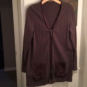 Tahari brown zip cardigan